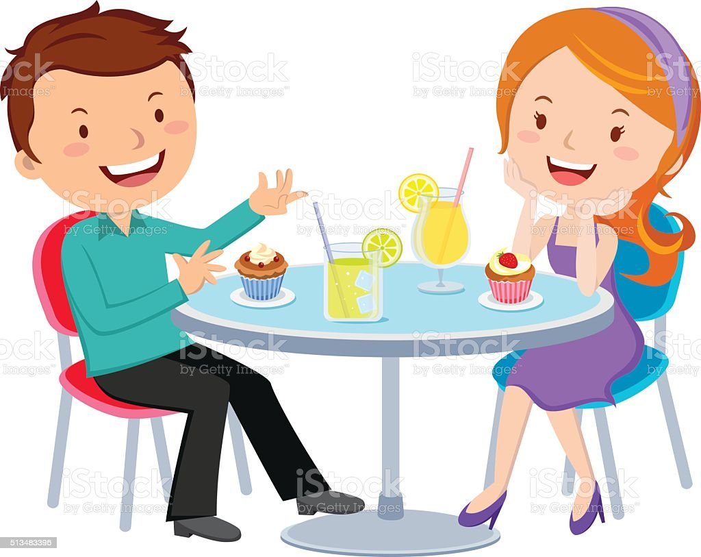 Couple dating vector art illustration