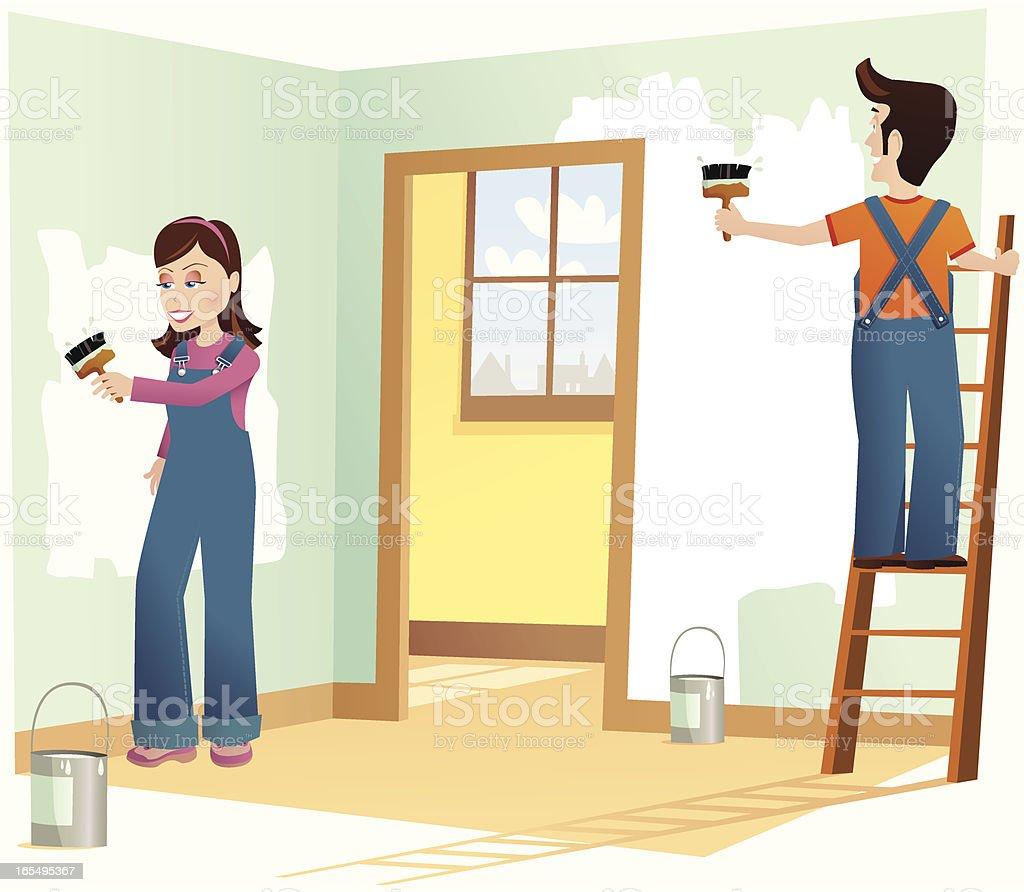 Couple decorating house vector art illustration