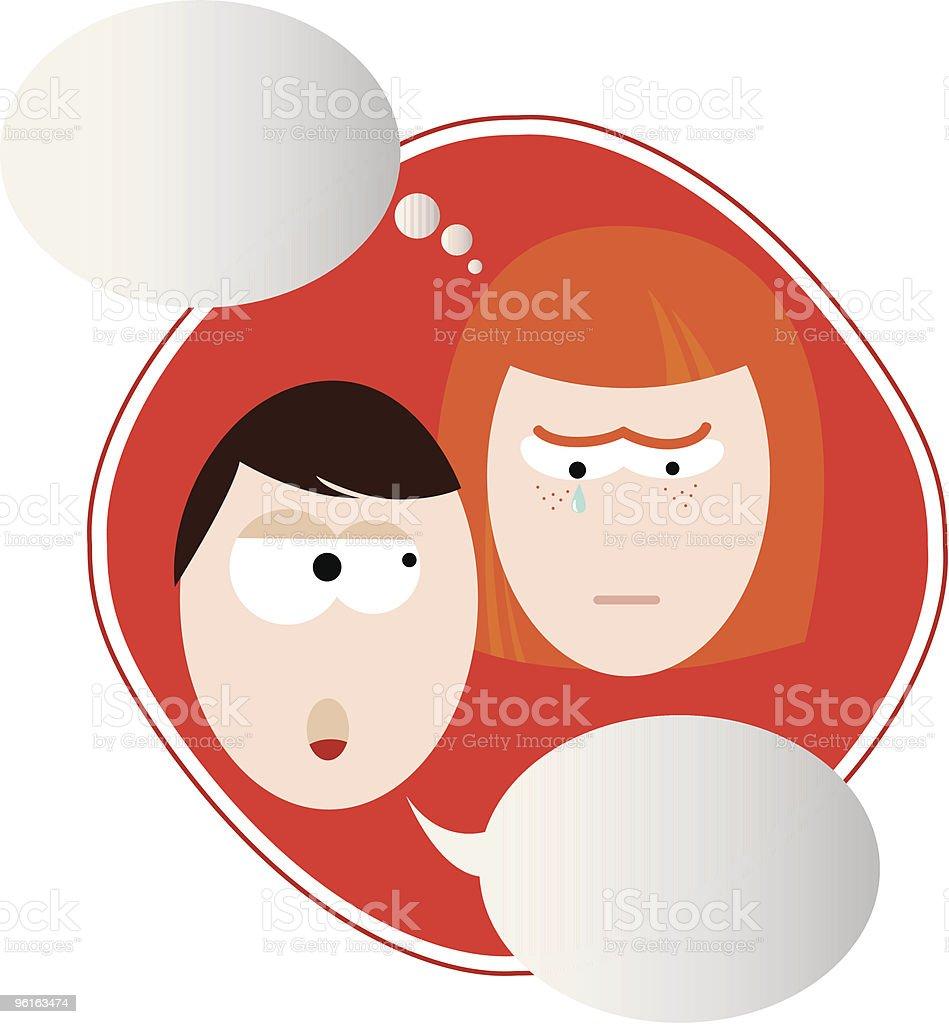 Couple disagreement vector art illustration