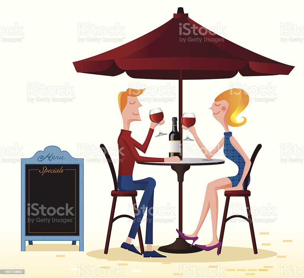 Couple drinking at the cafe vector art illustration