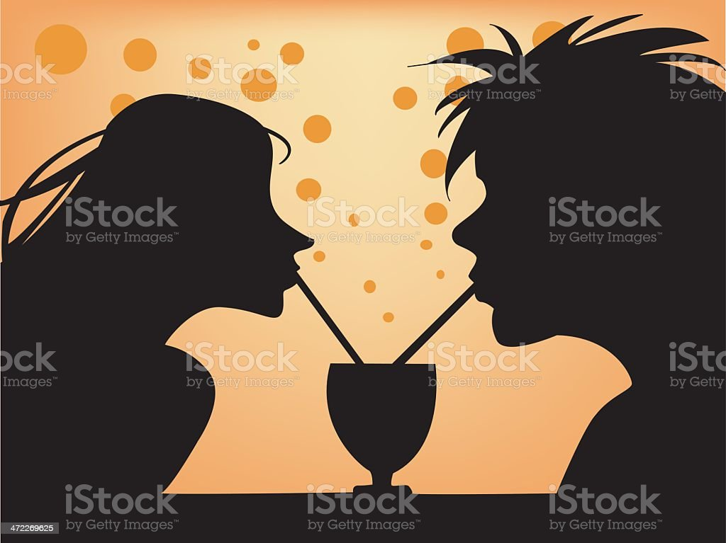 couple drinking royalty-free stock vector art