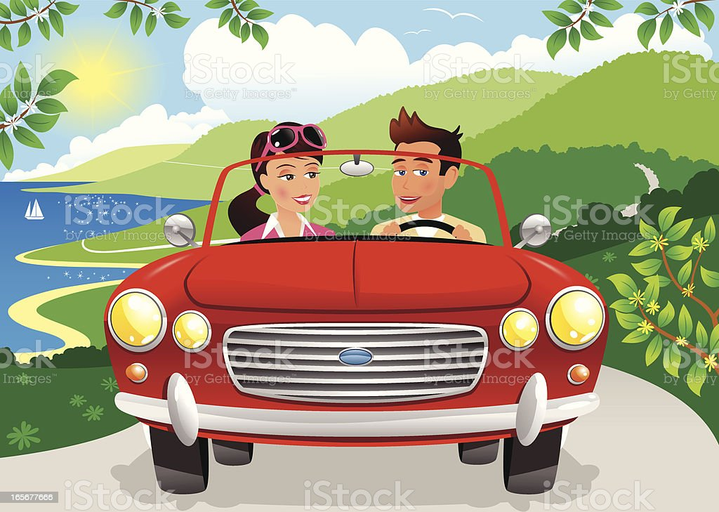 Couple driving along coastal road in sports car royalty-free stock vector art