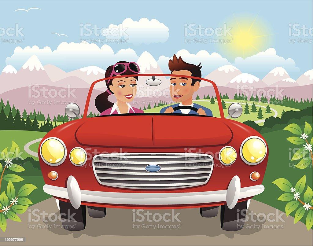 Couple driving along mountain road royalty-free stock vector art