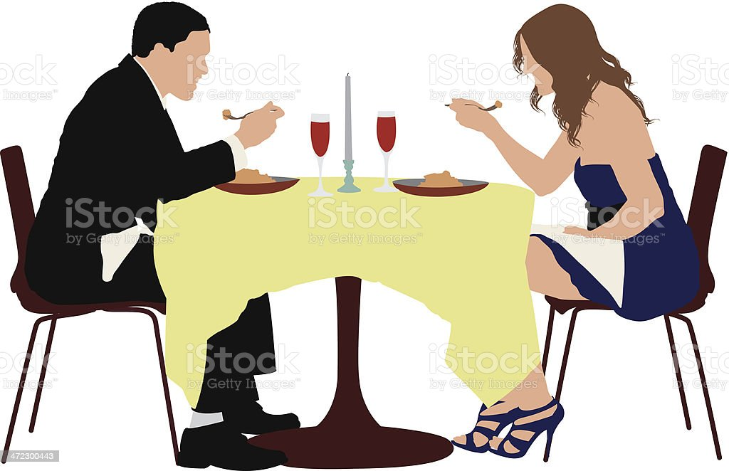 Couple eating food in a restaurant vector art illustration