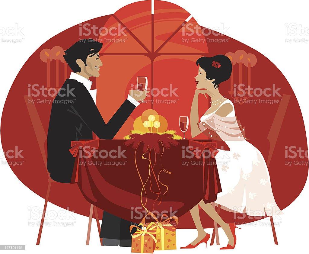Couple enjoying fancy dinner royalty-free stock vector art