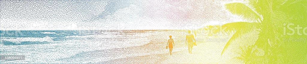 Couple Enjoying Romantic Walk On Beach vector art illustration