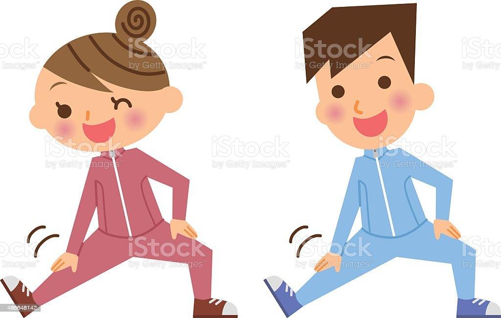 Couple exercise vector art illustration