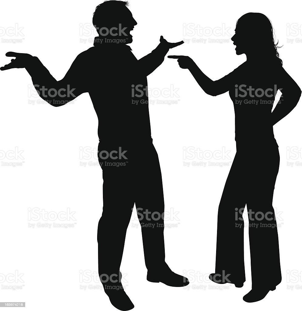 Couple Fighting vector art illustration