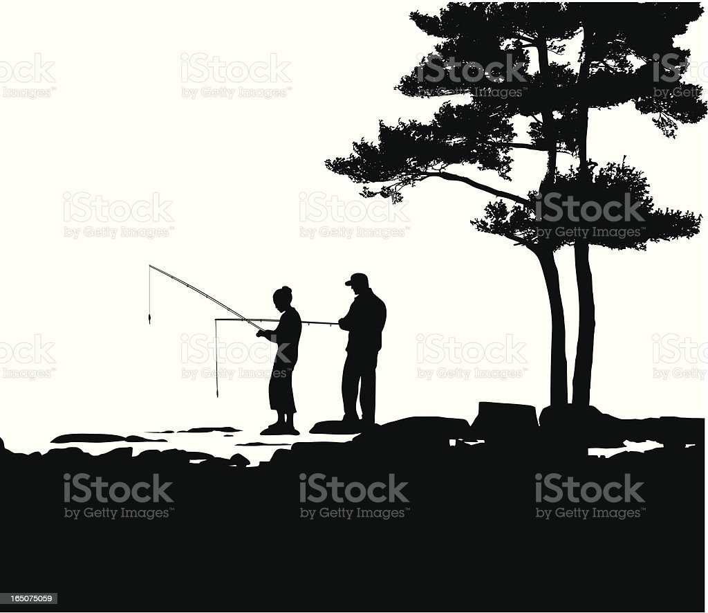 Couple Fishing Vector Silhouette royalty-free stock vector art