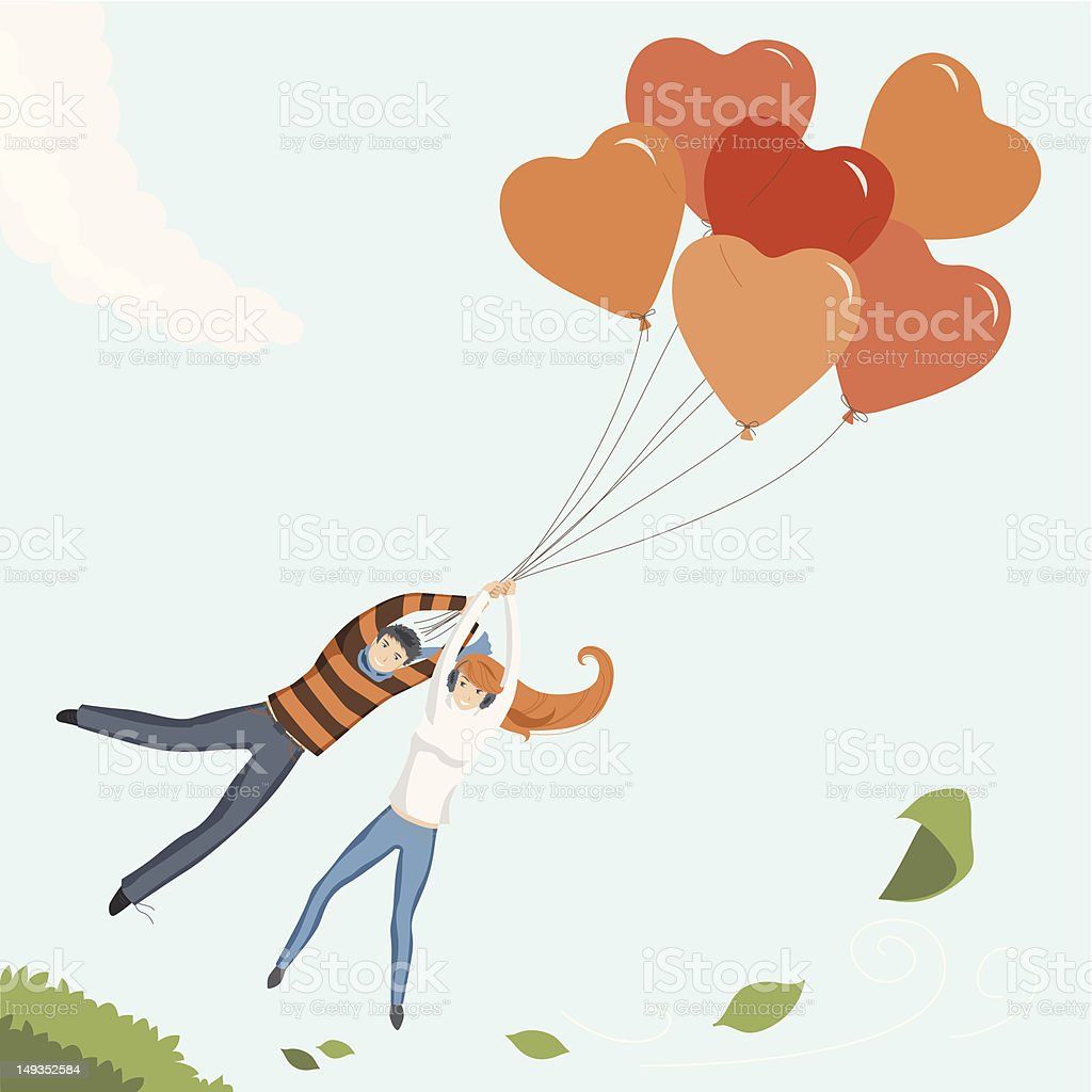 Couple Flying by Heart Balloon royalty-free stock vector art