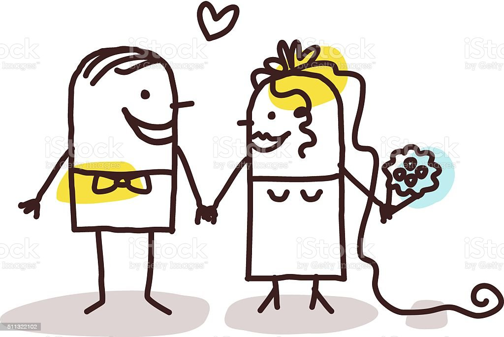 couple getting married vector art illustration