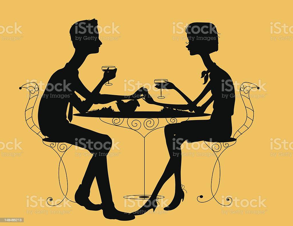 Couple Having Dinner royalty-free stock vector art