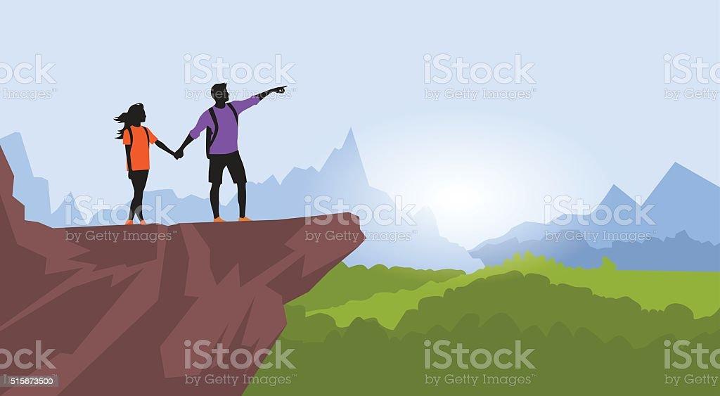 Couple Hiking Man Woman Silhouette Traveler Stand On Mountain Rock vector art illustration