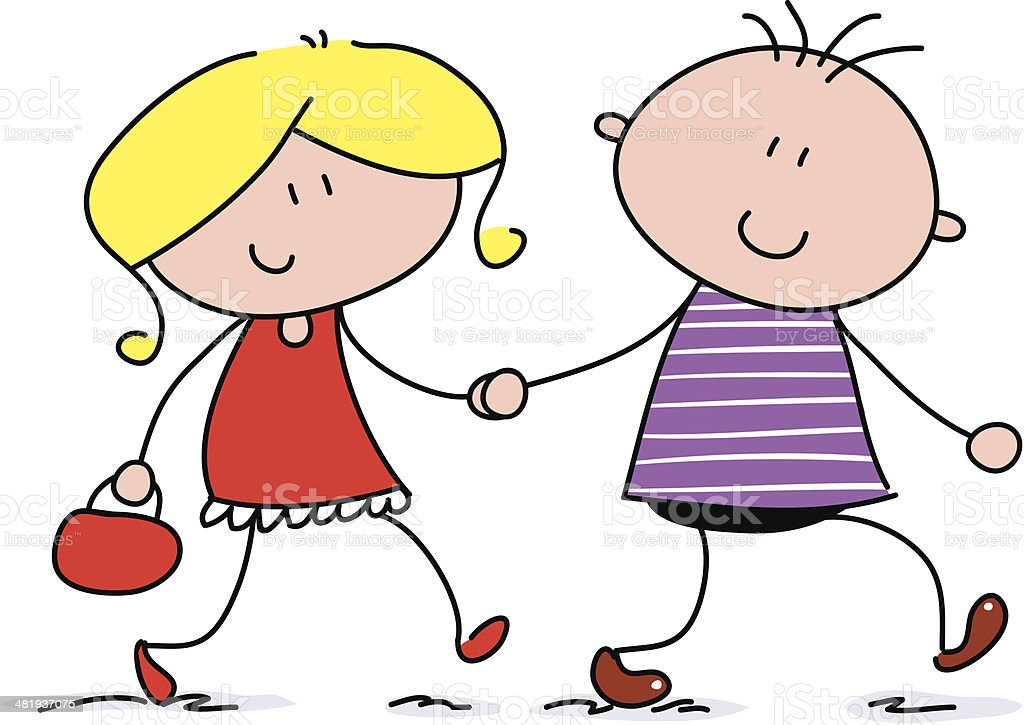 Couple Hold Hands royalty-free stock vector art