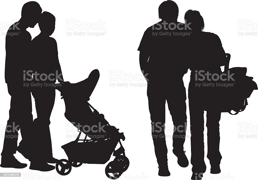 Couple holding baby carrier vector art illustration