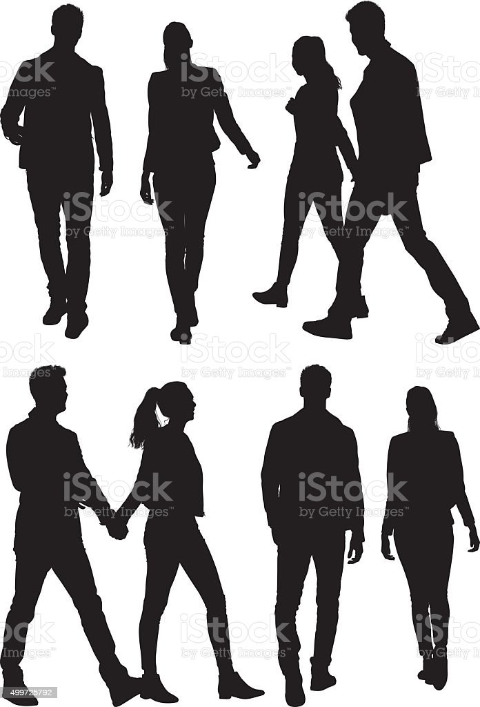 Couple holding hands and walking vector art illustration