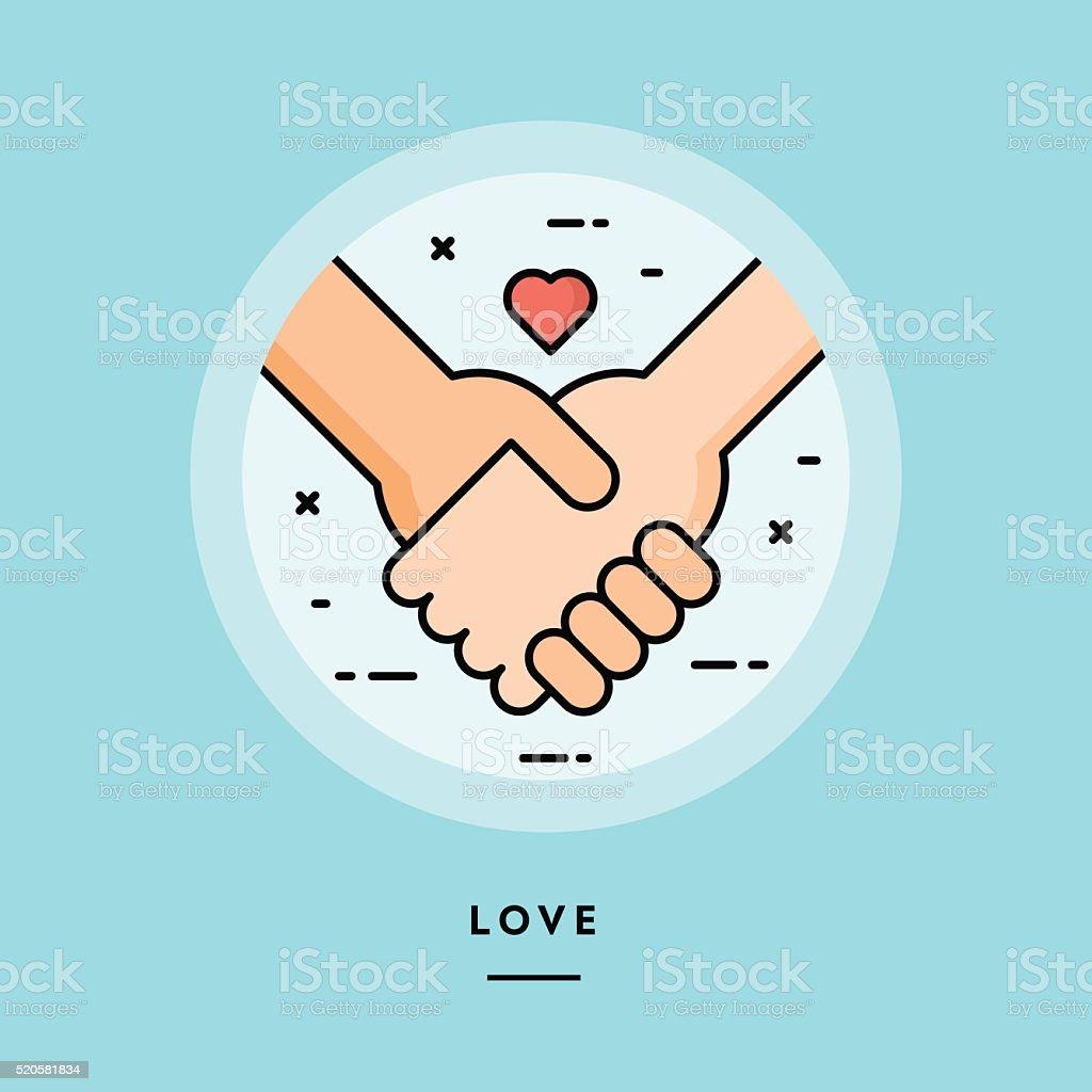 Couple holding hands, flat design thin line banner vector art illustration