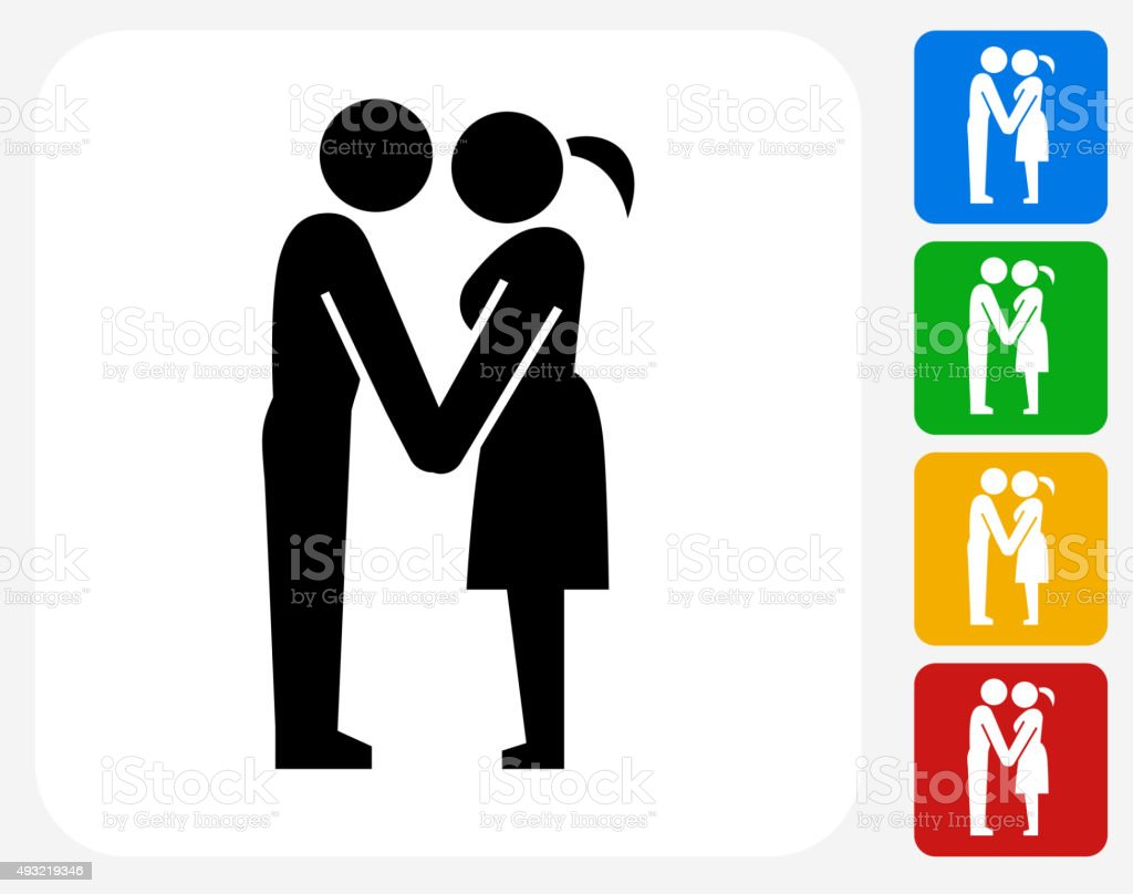 Couple Holding Hands Icon Flat Graphic Design vector art illustration
