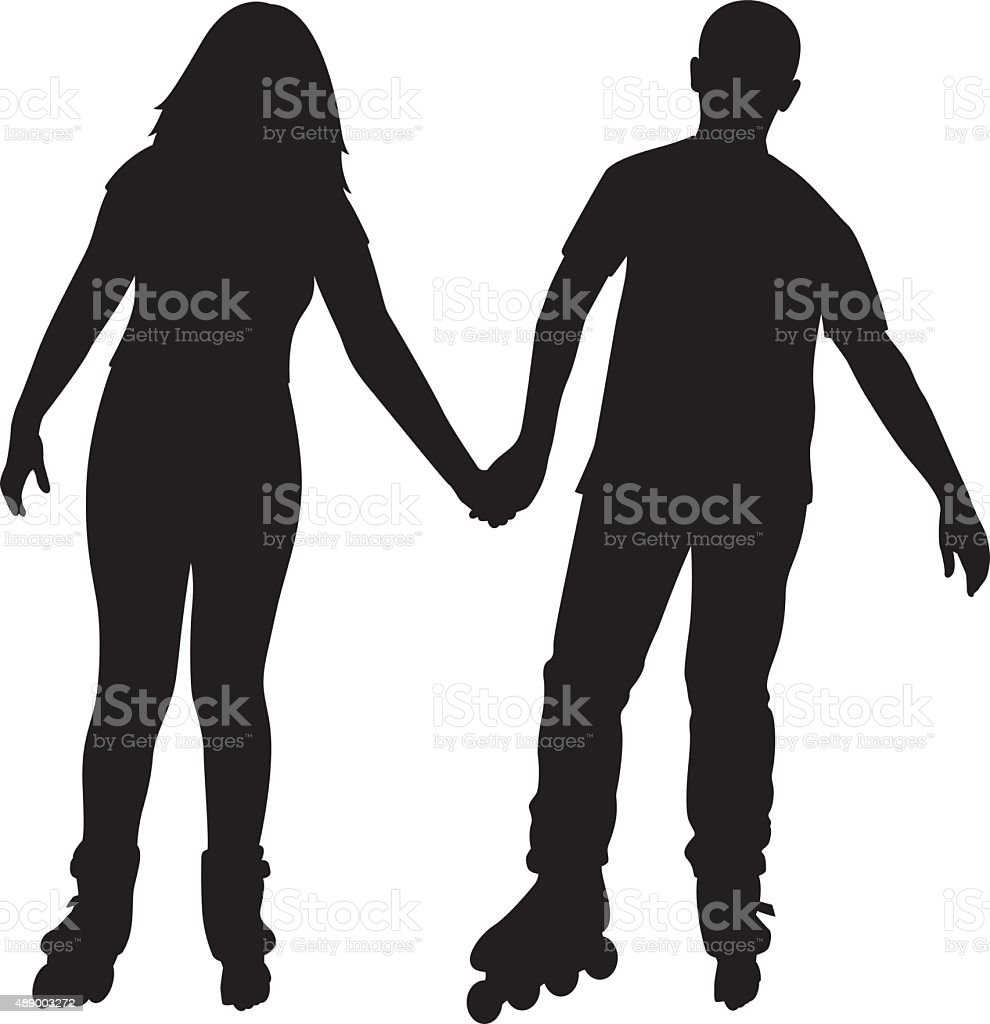 Couple Holding Hands on Rollerblades vector art illustration