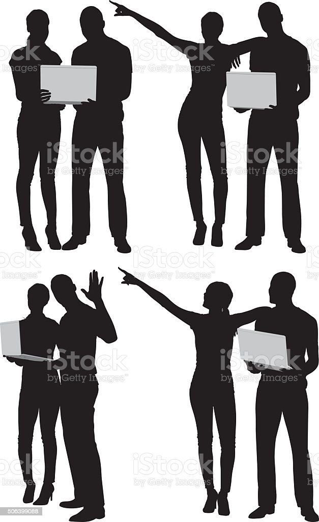 Couple holding laptop and in various actions vector art illustration