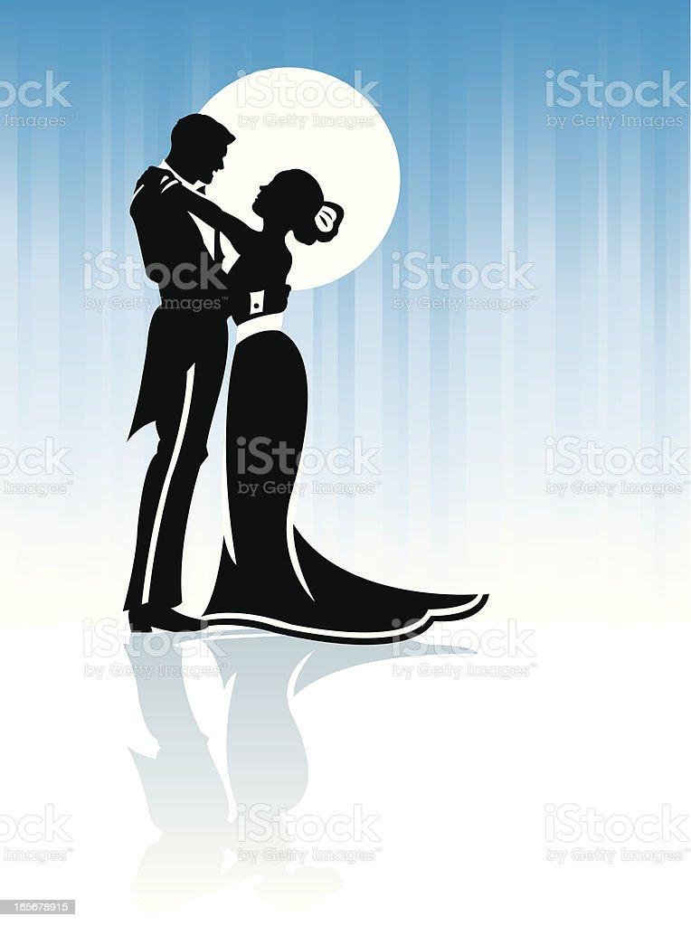 Couple Hugging or Dancing in Moonlight Background vector art illustration
