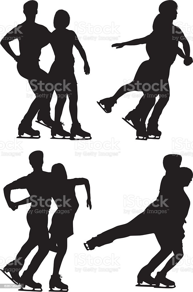 Couple ice skating vector art illustration
