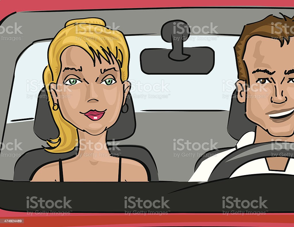 Couple in a car royalty-free stock vector art