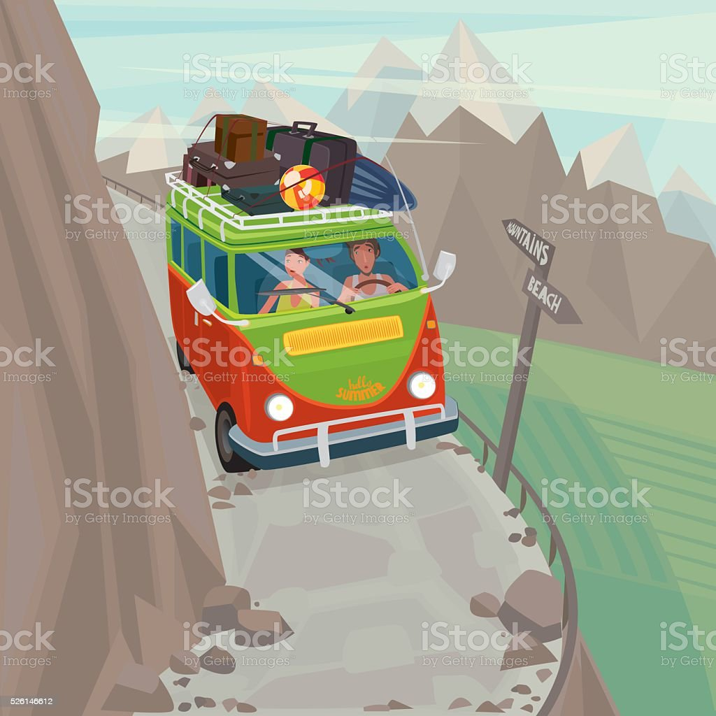 Couple in a hippie bus rides on the mountain serpentine vector art illustration