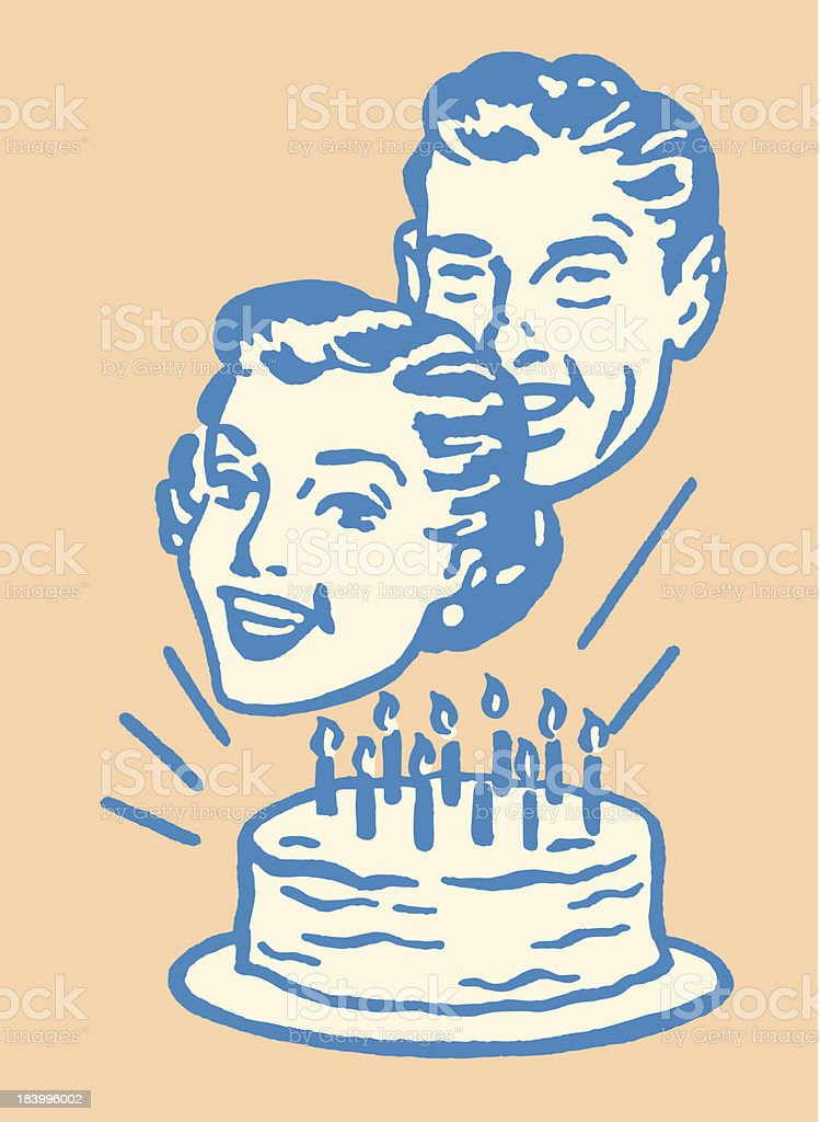 Couple in Front of Birthday Cake vector art illustration