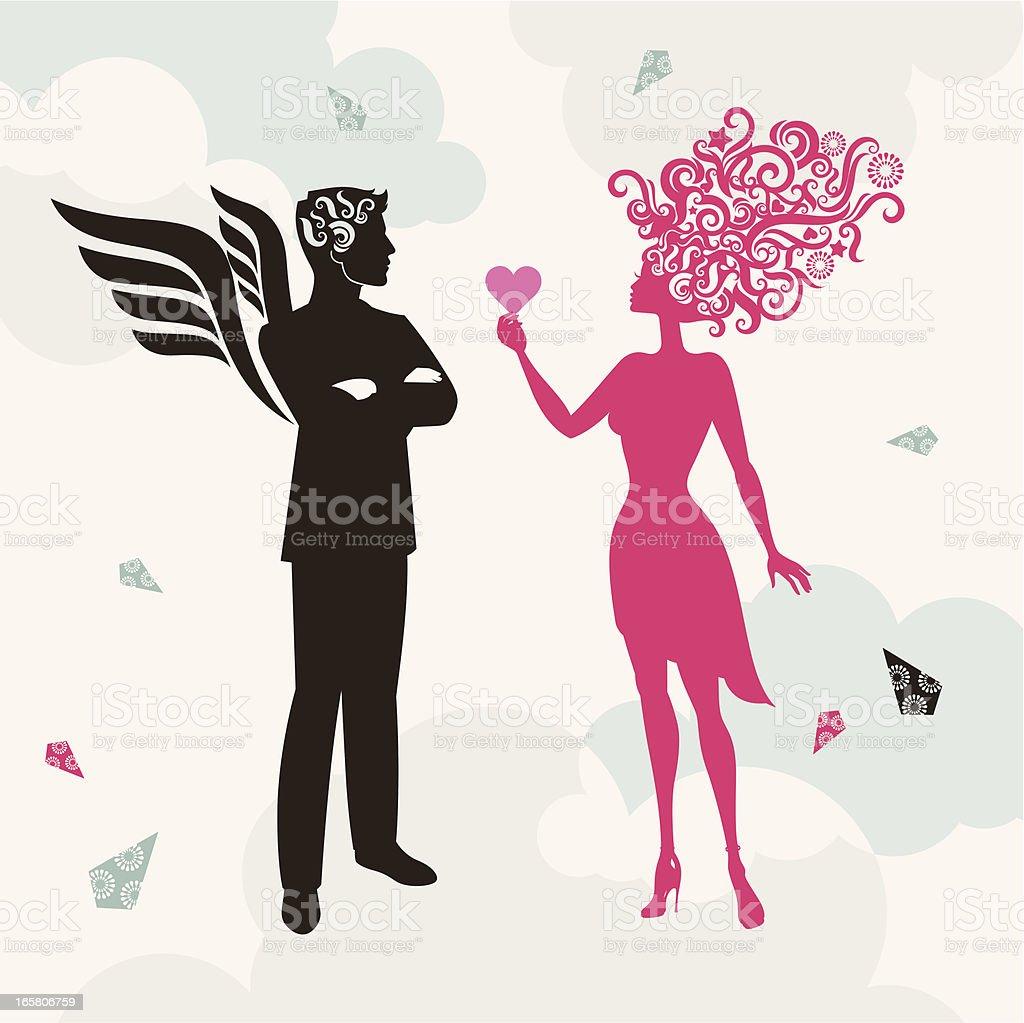 Couple in heaven. vector art illustration