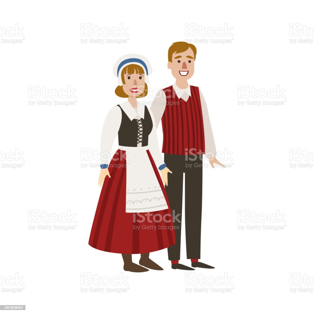 Couple In Hollandaise National Clothes vector art illustration