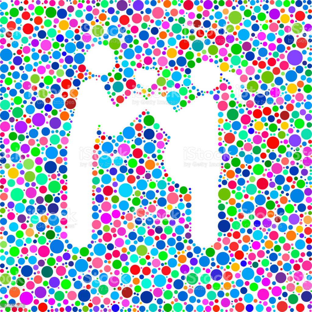 Couple In Love Child Icon on Color Circle Background Pattern vector art illustration
