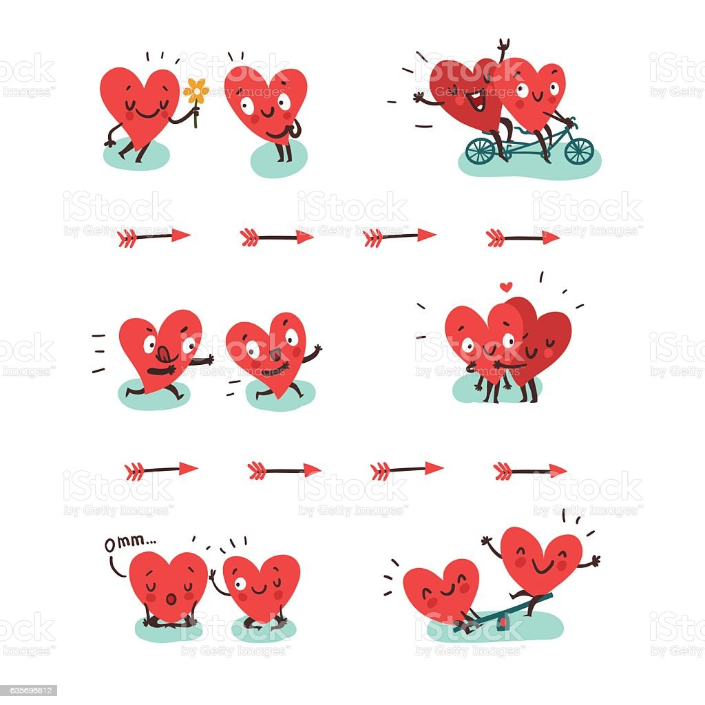 Couple in love concept. Two hearts doing funny activities togeth vector art illustration