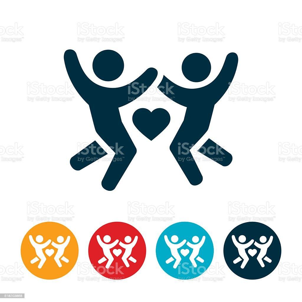 Couple In Love Icon vector art illustration