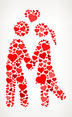 Couple in Love Red Hearts Love Pattern