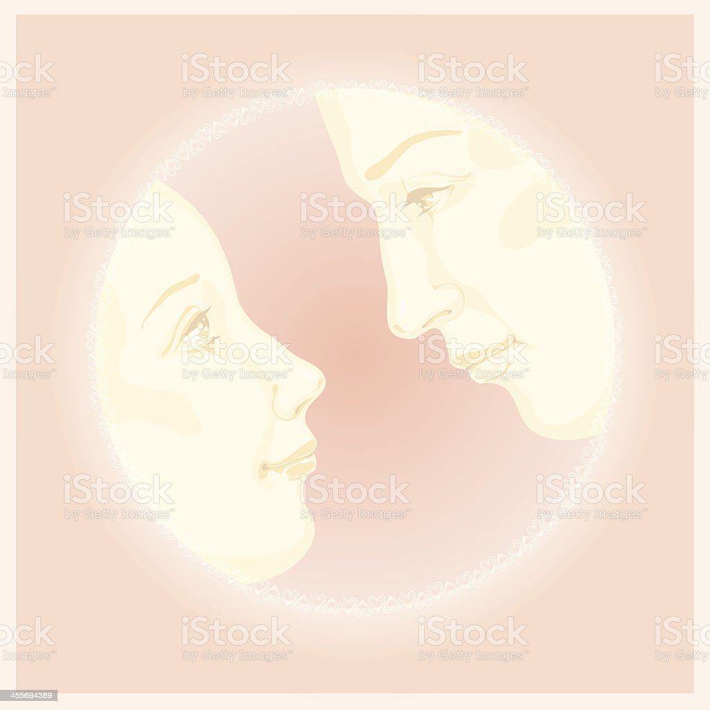 couple in love, valentine post greeting card design royalty-free stock vector art