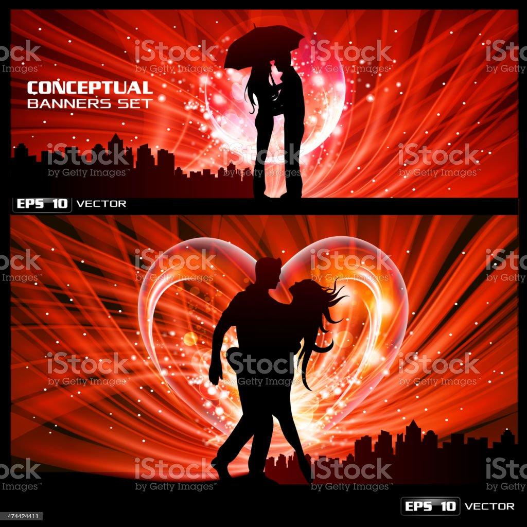 Couple in love vector art illustration