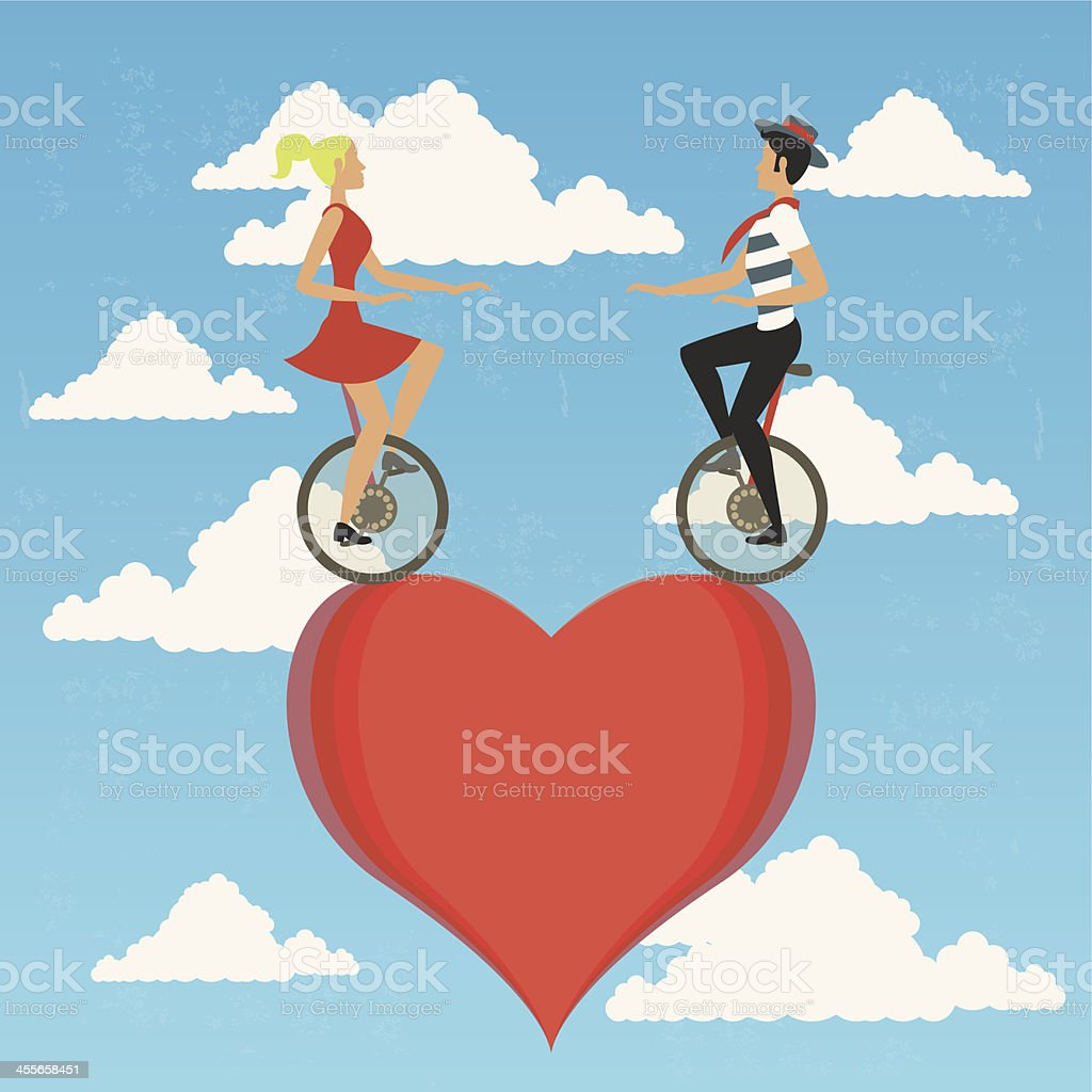Couple in monocycle vector art illustration