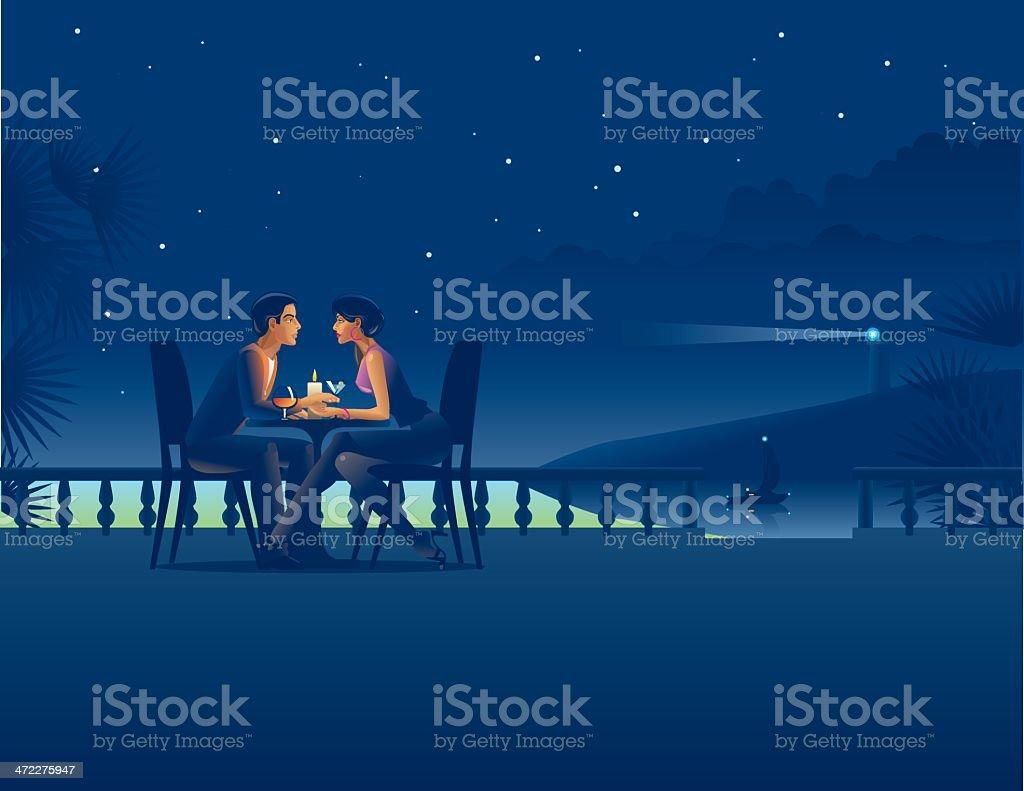 Couple in night coast cafe. vector art illustration
