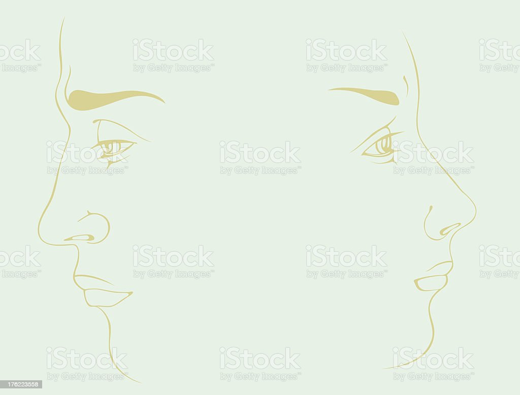 Couple in sorrow on a blue background royalty-free stock vector art