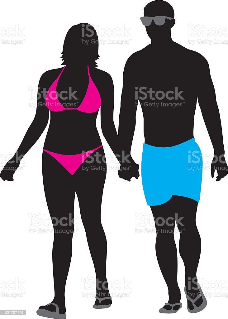 Couple in Swimwear Walking Silhouette vector art illustration