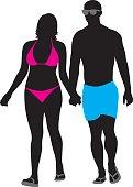 Couple in Swimwear Walking Silhouette