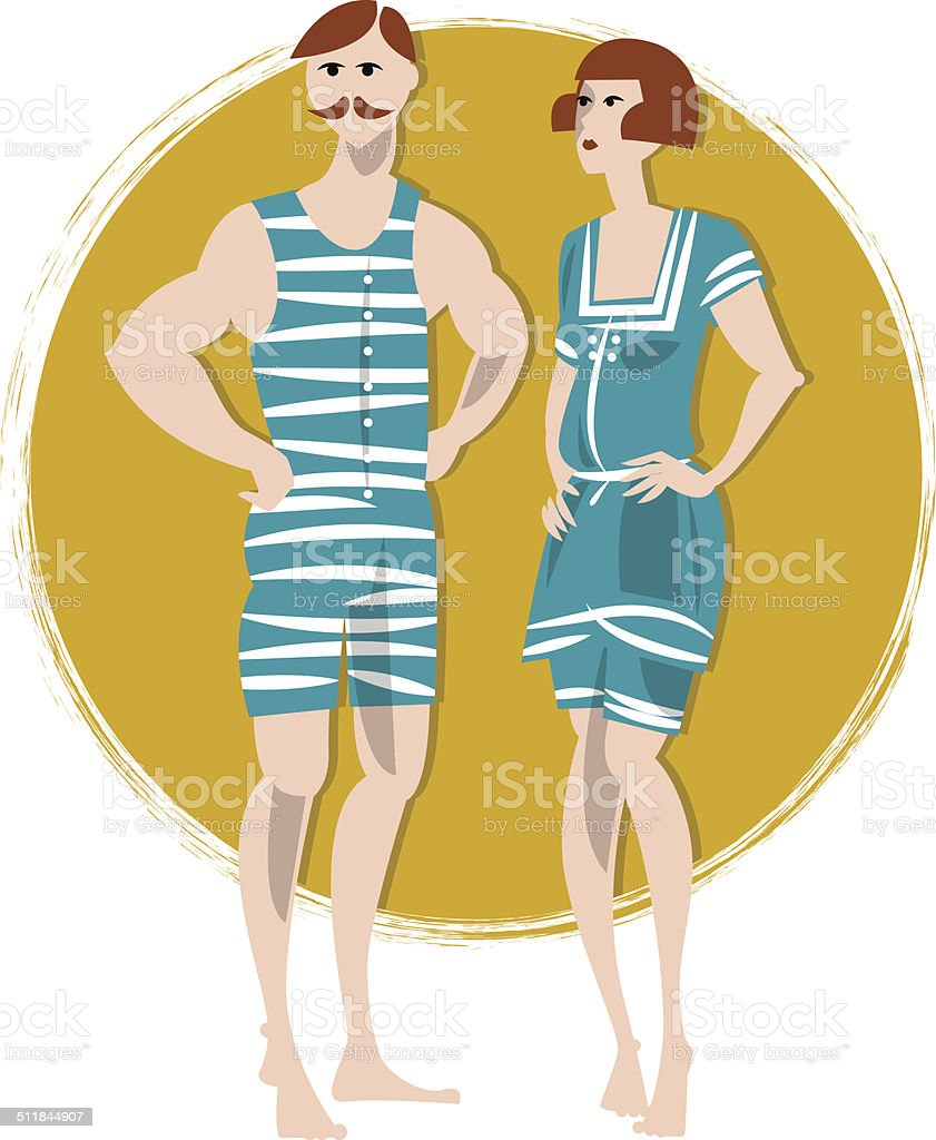 Couple in swimwears. Art deco. Retro. vector art illustration