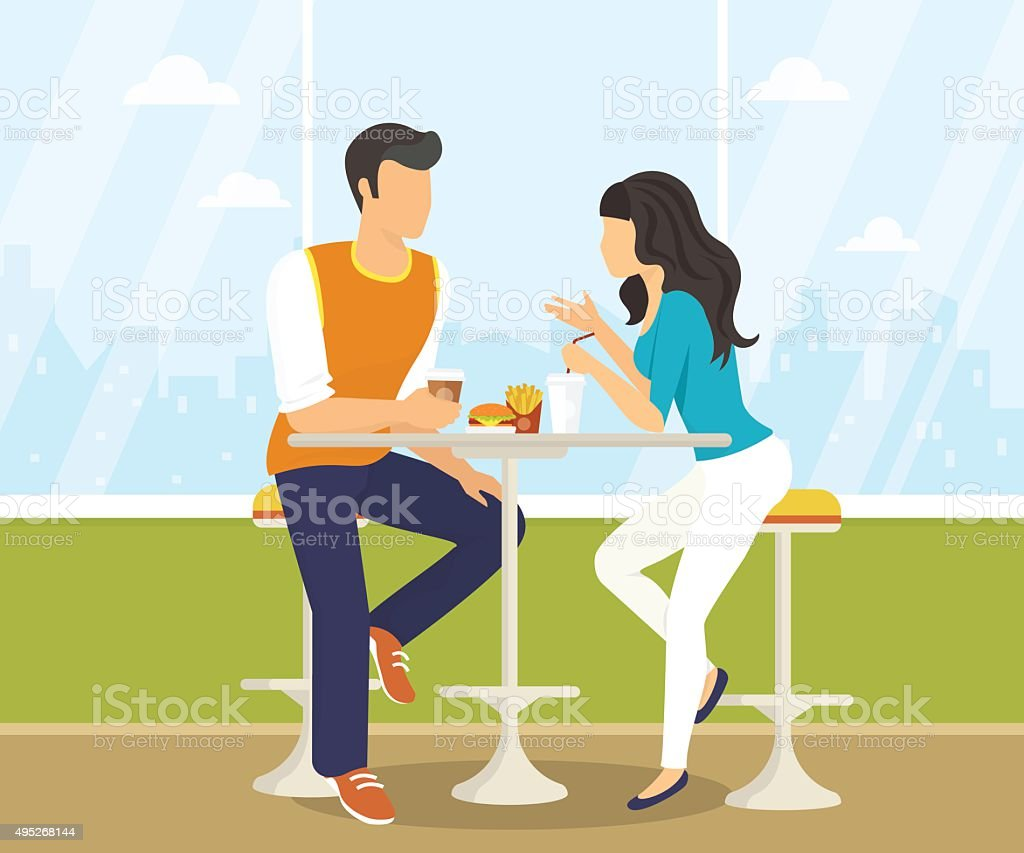 Couple in the cafe vector art illustration