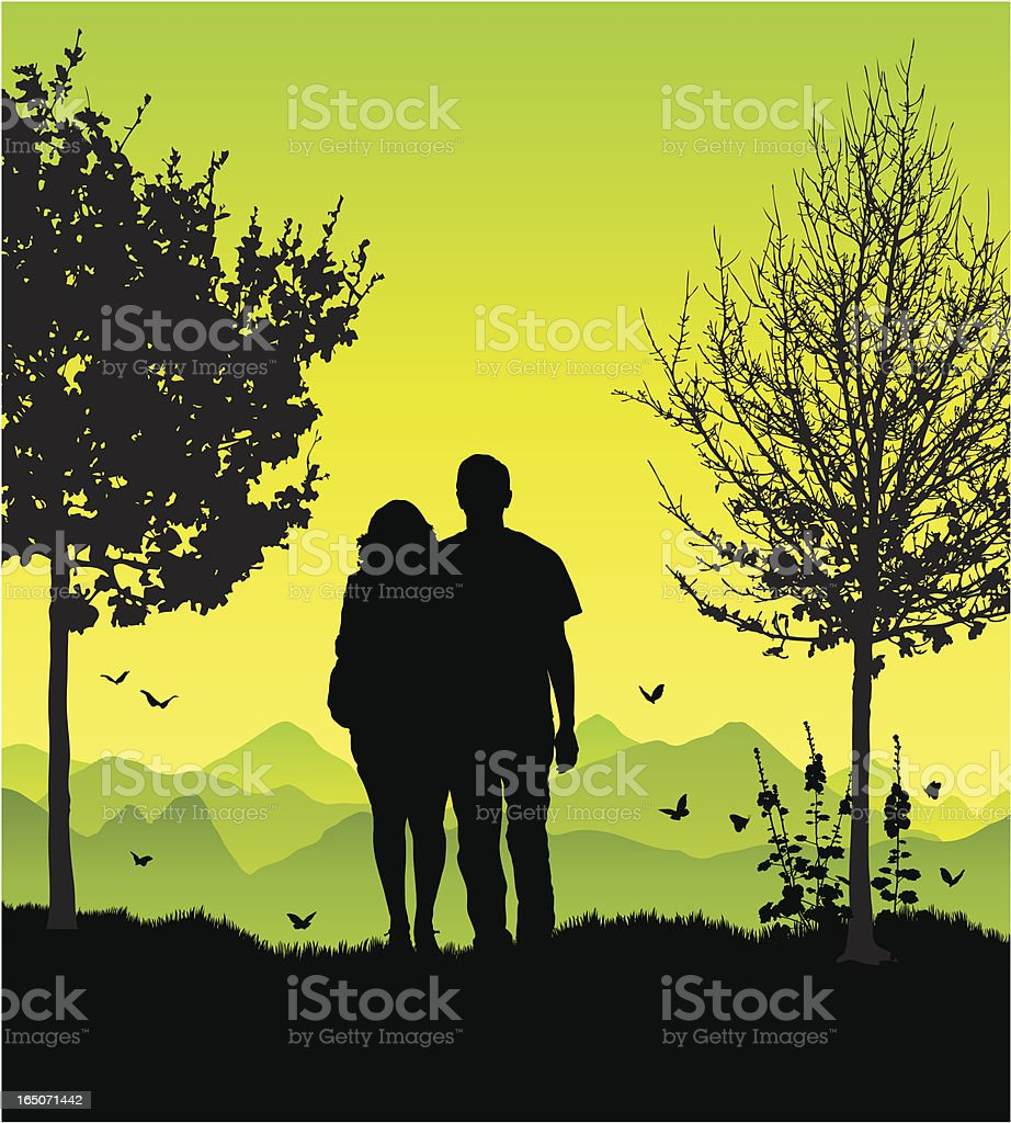 Couple in the country royalty-free stock vector art