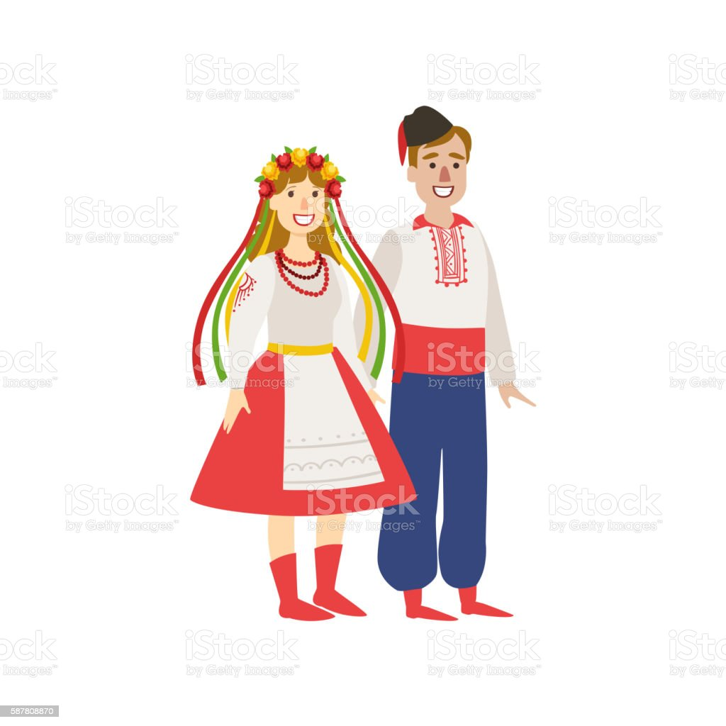 Couple In Ukranian National Clothes vector art illustration