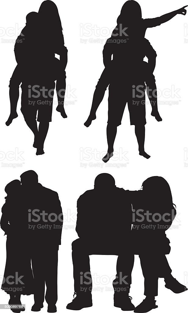 Couple in various actions vector art illustration
