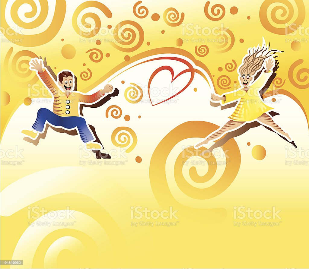 Couple jumping royalty-free stock vector art