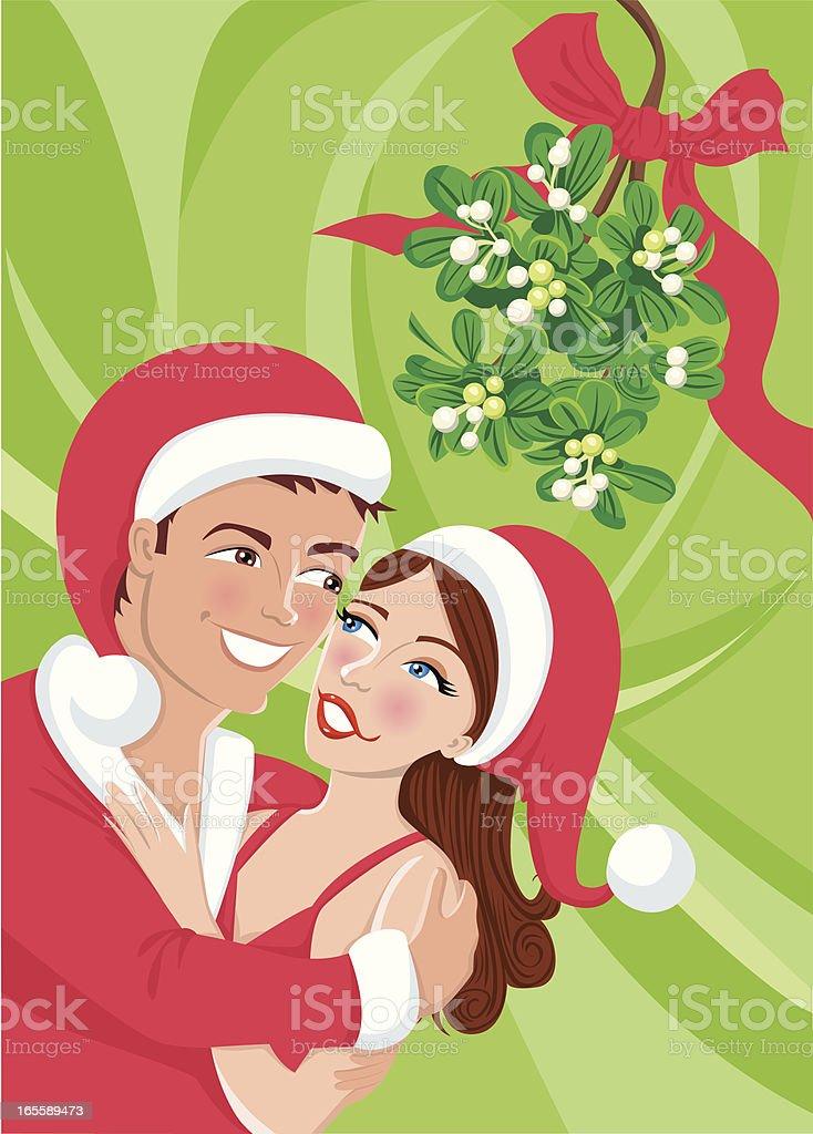 Couple kissing under mistletoe royalty-free stock vector art