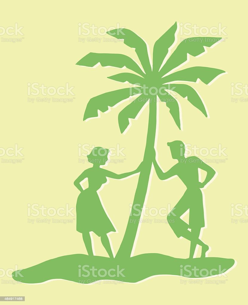 Couple Leaning Against Palm Tree vector art illustration